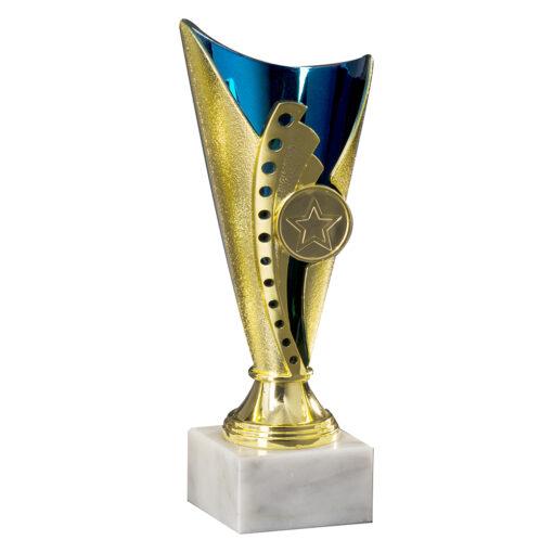 Pokal Anna, gold/blau, 3 Größen, Motiv nach Wahl