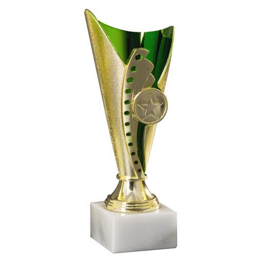 Pokal Anna, gold/grün, 3 Größen, Motiv nach Wahl