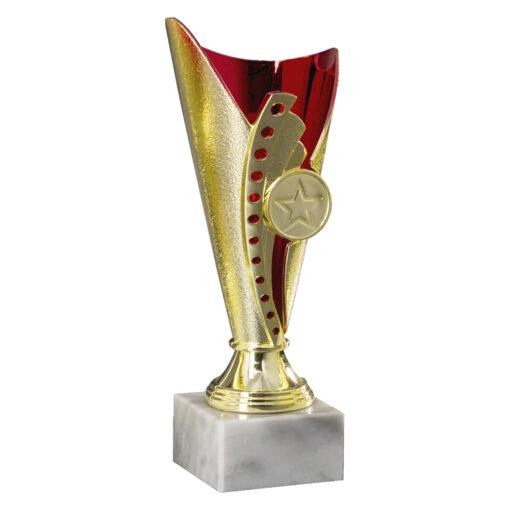 Pokal Anna, gold/rot, 3 Größen, Motiv nach Wahl