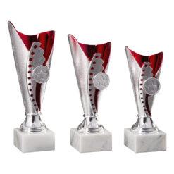 Pokal Anna, silber/rot, 3 Größen, Motiv nach Wahl